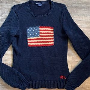 Ralph Lauren American Flag sweater!  Size Large